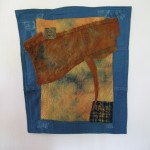 Recycled textiles, batting, thread, quilting, embroidery, looping by Donna Kallner.