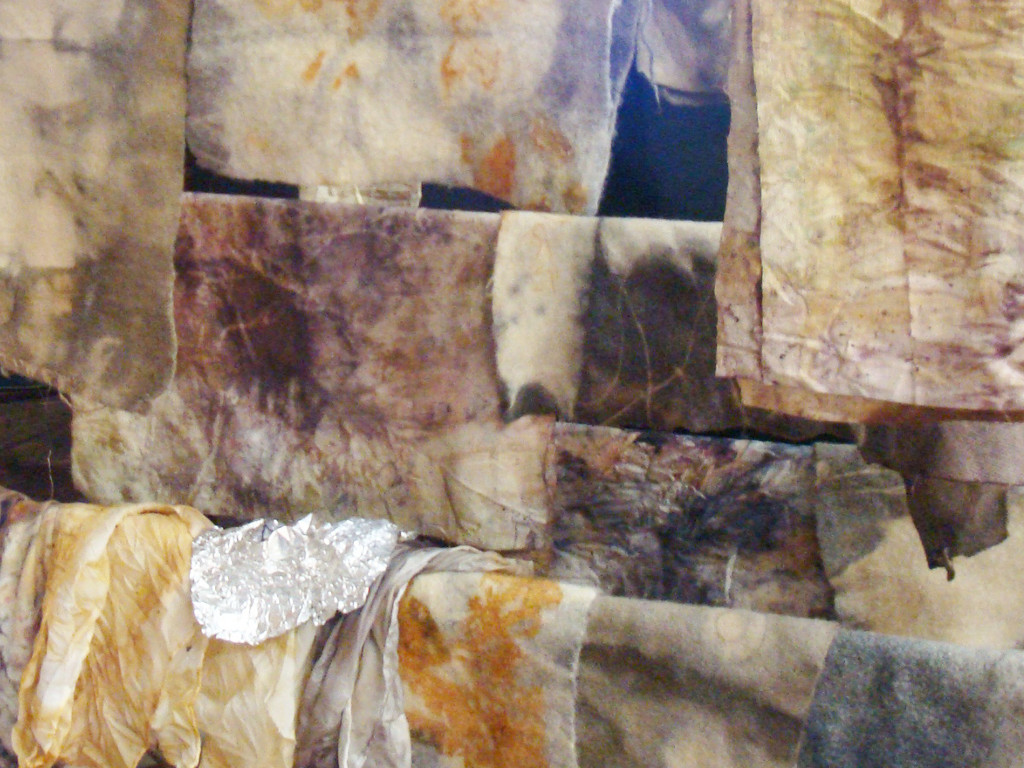 Wisconsin-grown natural dyes on silk, wool and recycled camel hair coat.