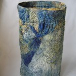 Recycled textiles, buckram, boning, thread, beads, quilting, looping by Donna Kallner.