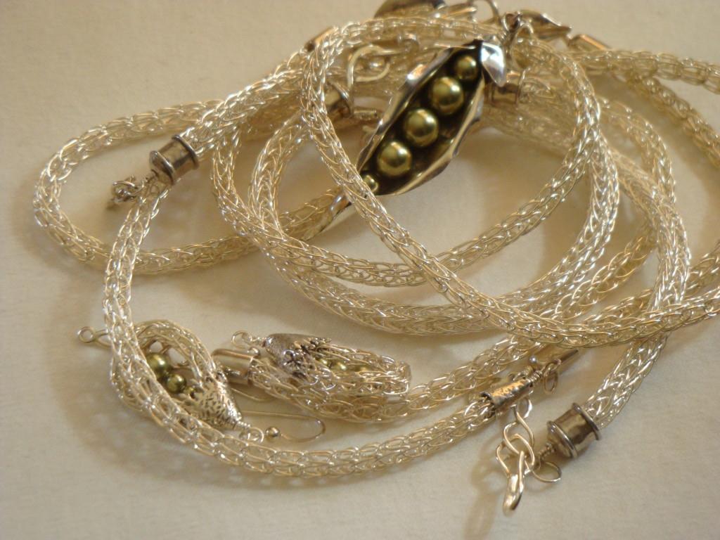 Barbara Heike's Viking knit silver jewelry.