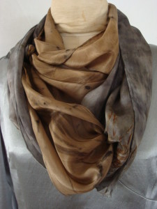 Donna Kallner's willow-dyed silk scarves are sold on Etsy.