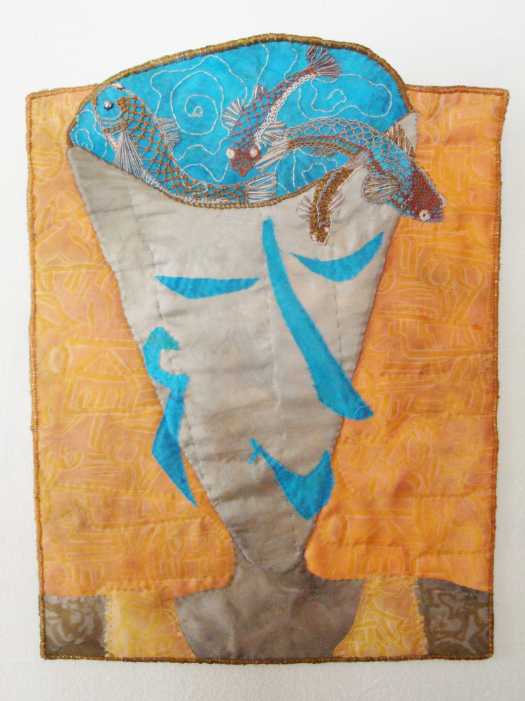 Handpainted silk, raw edge applique, embroidery, quilting and looping by Donna Kallner.