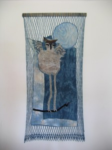 Recycled textiles, velvet, silk organza, batting, thread, mineral printing, quilting, netting, looping by Donna Kallner.