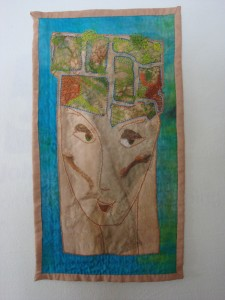 Handpainted and dyed silk, raw edge appliques, embroidery, quilting and looping by Donna Kallner.