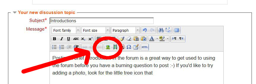Look for the tree icon to add a photo to a forum post.