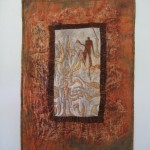 Recycled textiles, batting, thread, mineral printing, painting, looping by Donna Kallner.