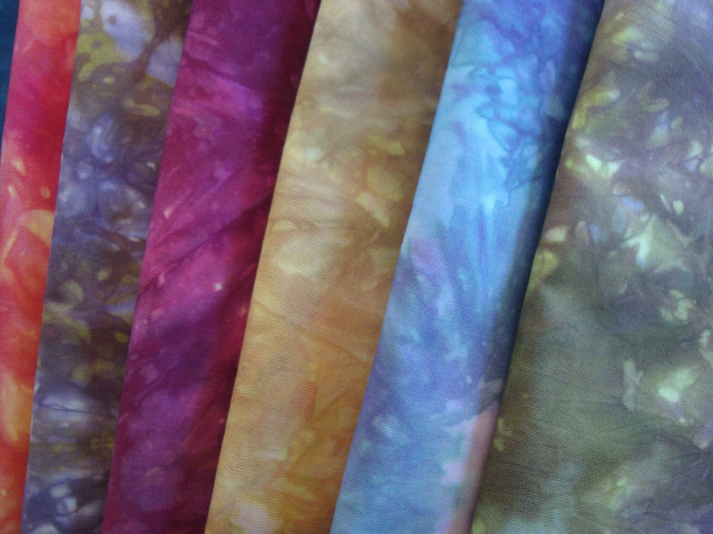 Quilting fabric dyed with fiber reactive dyes by Donna Kallner.