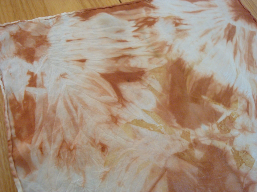 Silk handkerchief naturally dyed with onion skins by Donna Kallner.