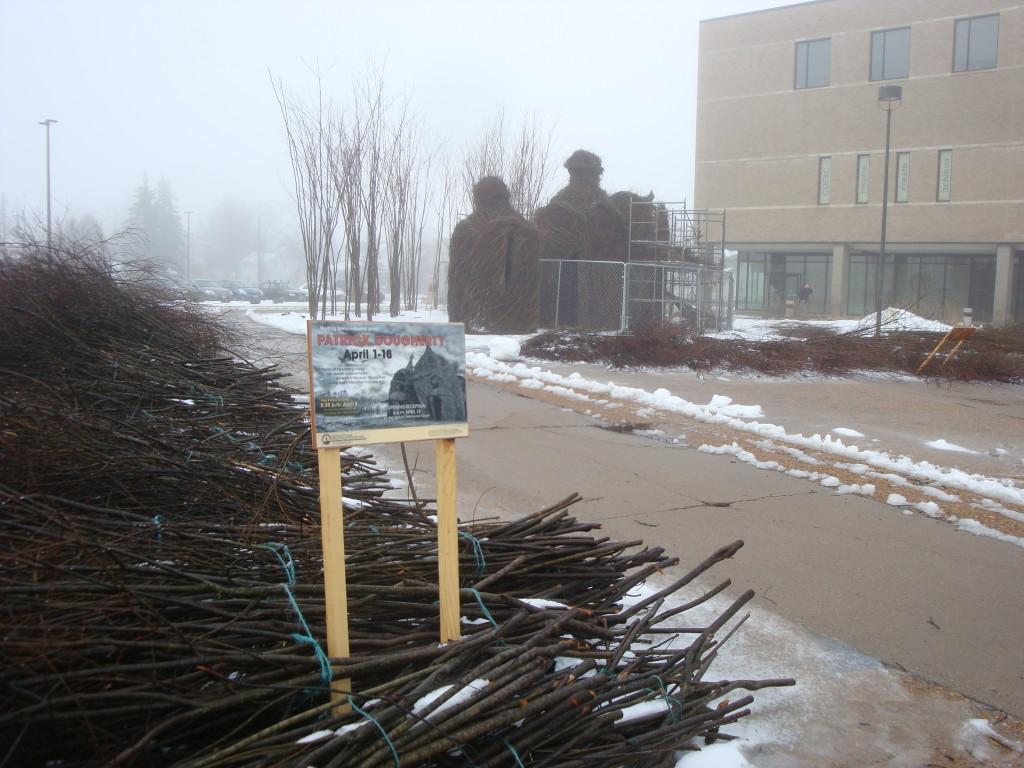 Patrick Dougherty installation at UW-Stevens Point 4-15-13 work in progress.