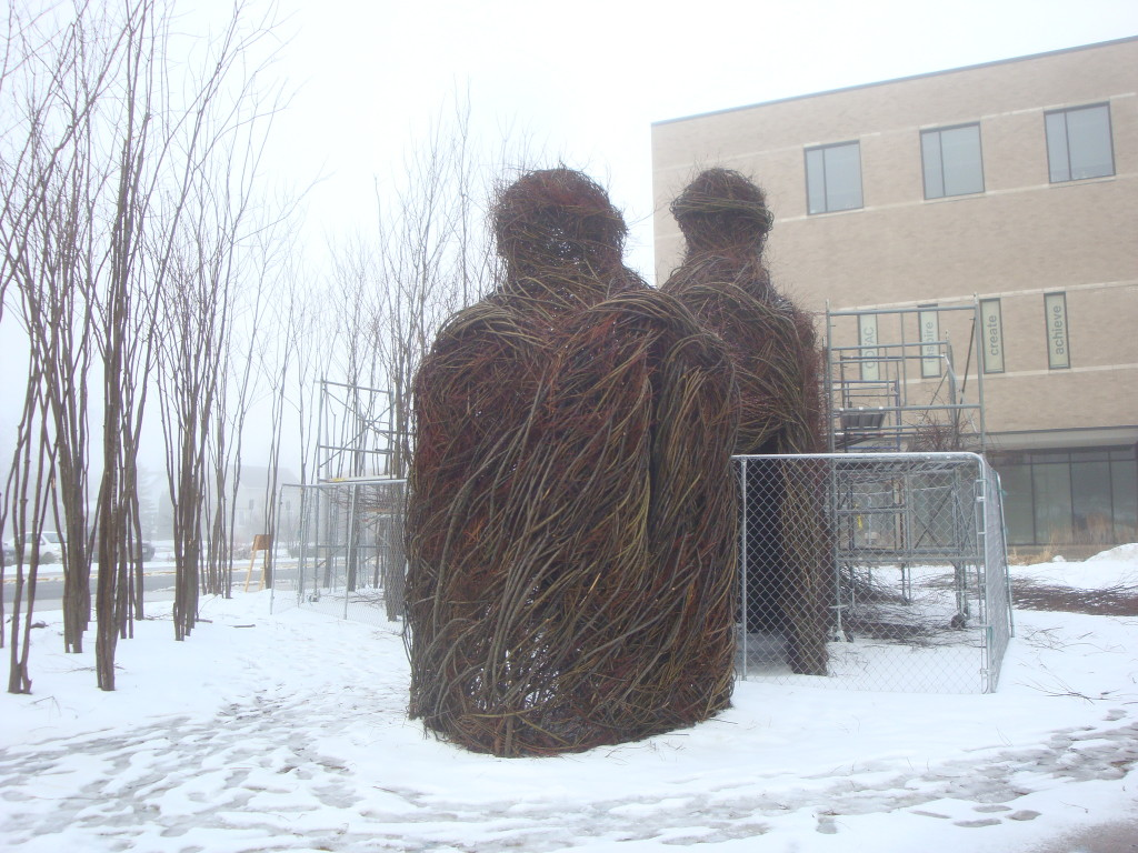 Work in progress on the Patrick Dougherty installation at University of Wisconsin-Stevens Point 4-15-13.
