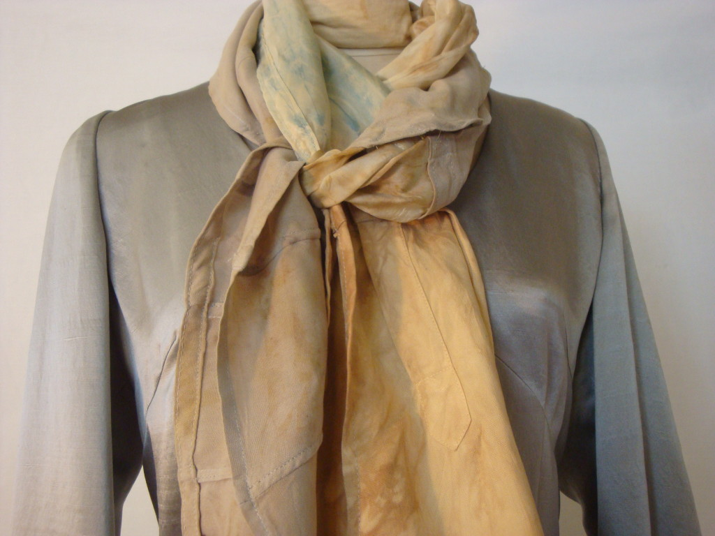 Naturally dyed silk scarf from repurposed fabrics by Donna Kallner on Ets.