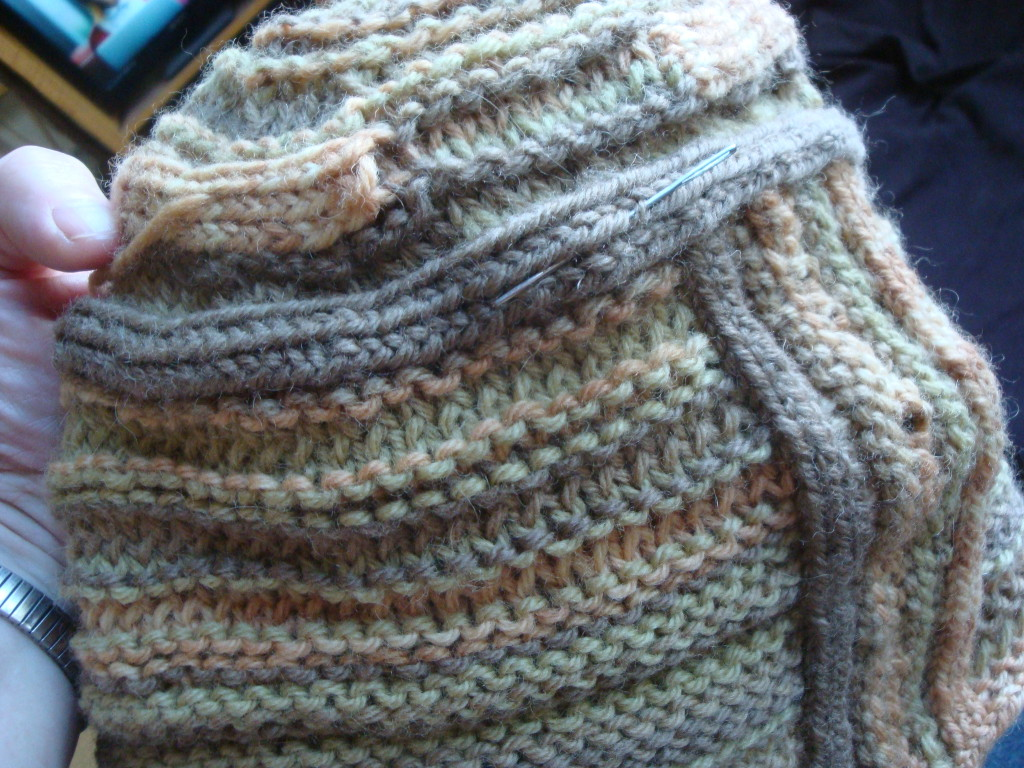 Unfinished natural dye sampler hat by Donna Kallner.