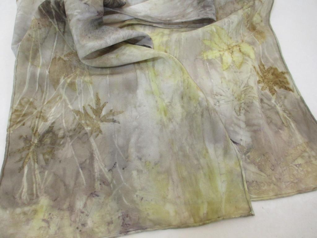 Eco-printed silk scarf by Donna Kallner.