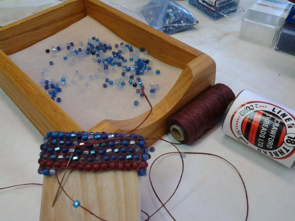 Mosaic bead looping work in progress.