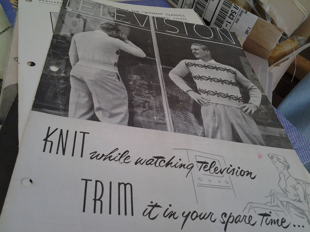 """Knit while watching television, trim in your spare time."""