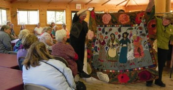 Betty Heath's hooked rug at The Gathering at Sievers 2014.