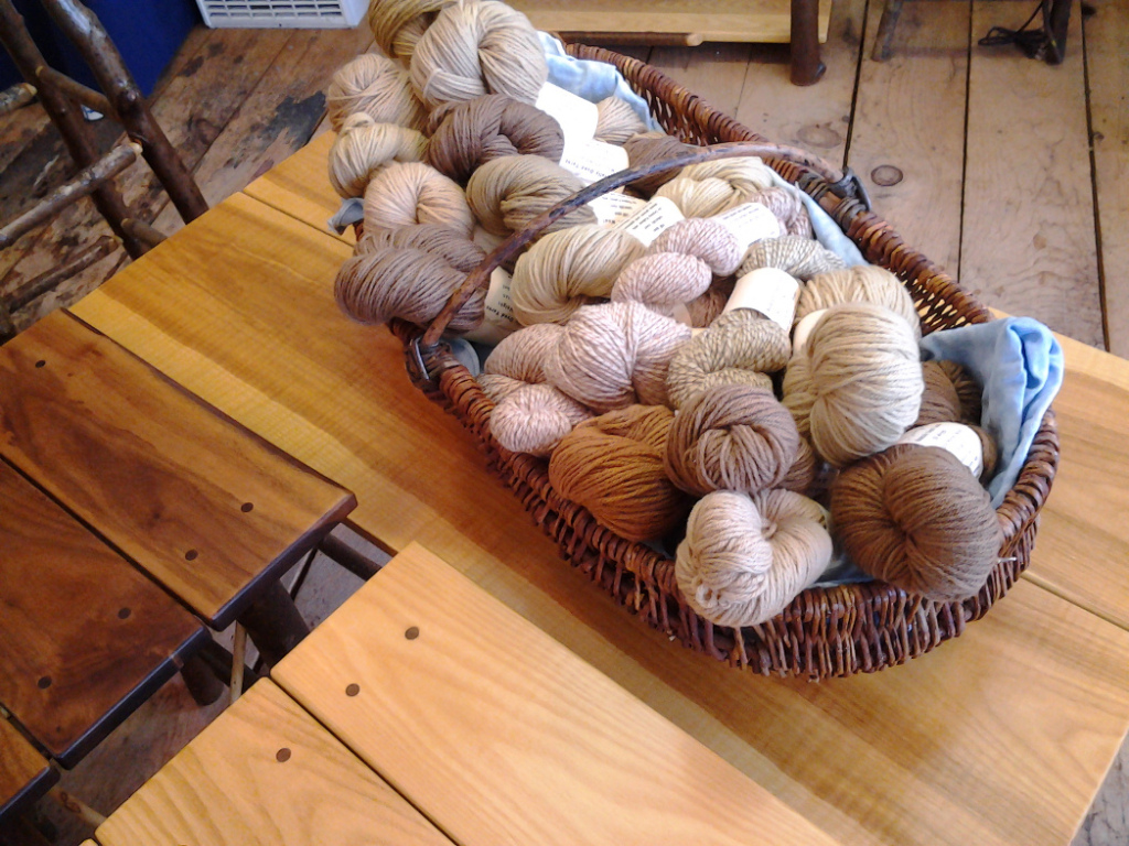 Naturally dyed yarns by Donna Kallner.