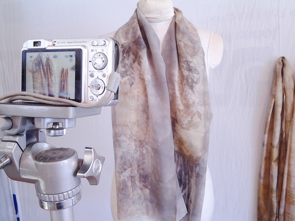 Naturally dyed scarves by Donna Kallner on Etsy.