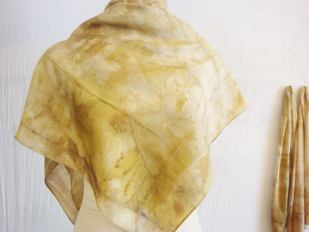 Natural dye scarves in Donna Kallner's etsy shop.