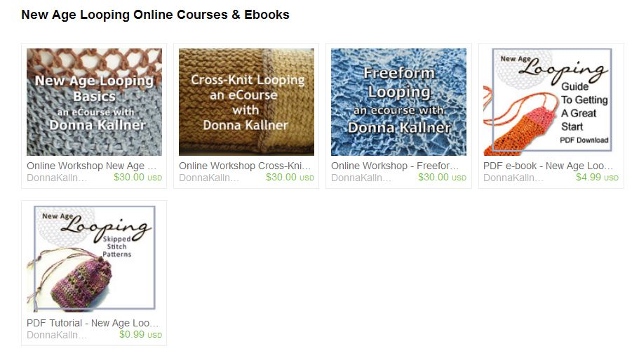Etsy listings for New Age Looping online courses and ebooks.