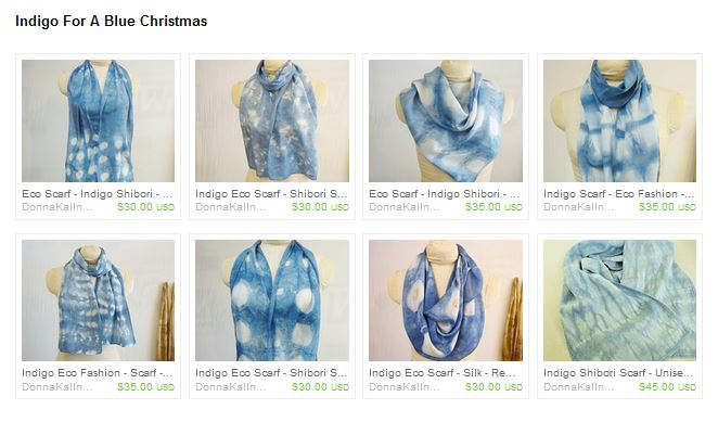 Indigo scarves by Donna Kallner.