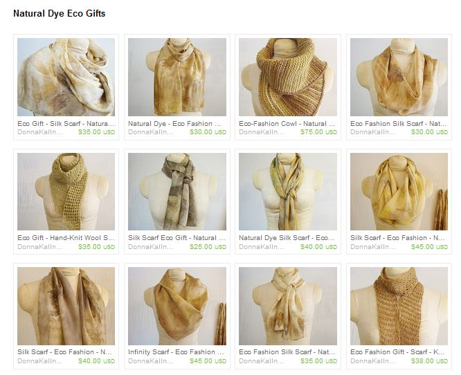 Natural dye scarves by Donna Kallner.