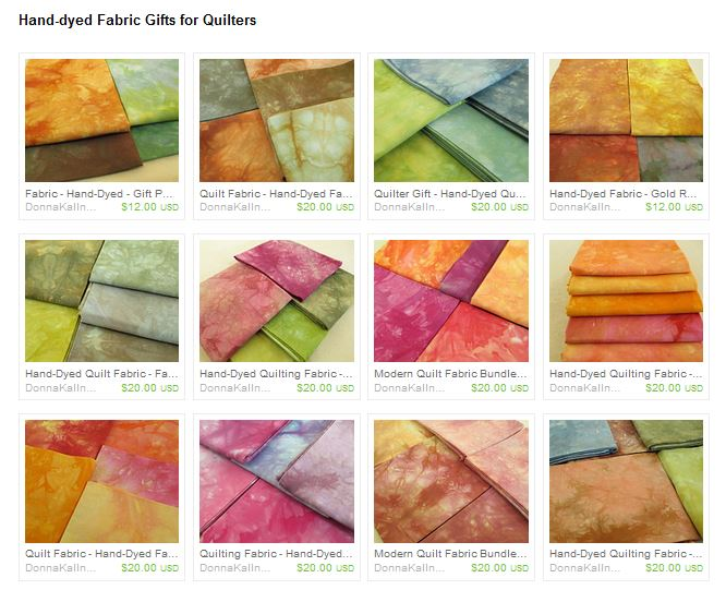 Hand-dyed fabric for quilter gifts from Donna Kallner.