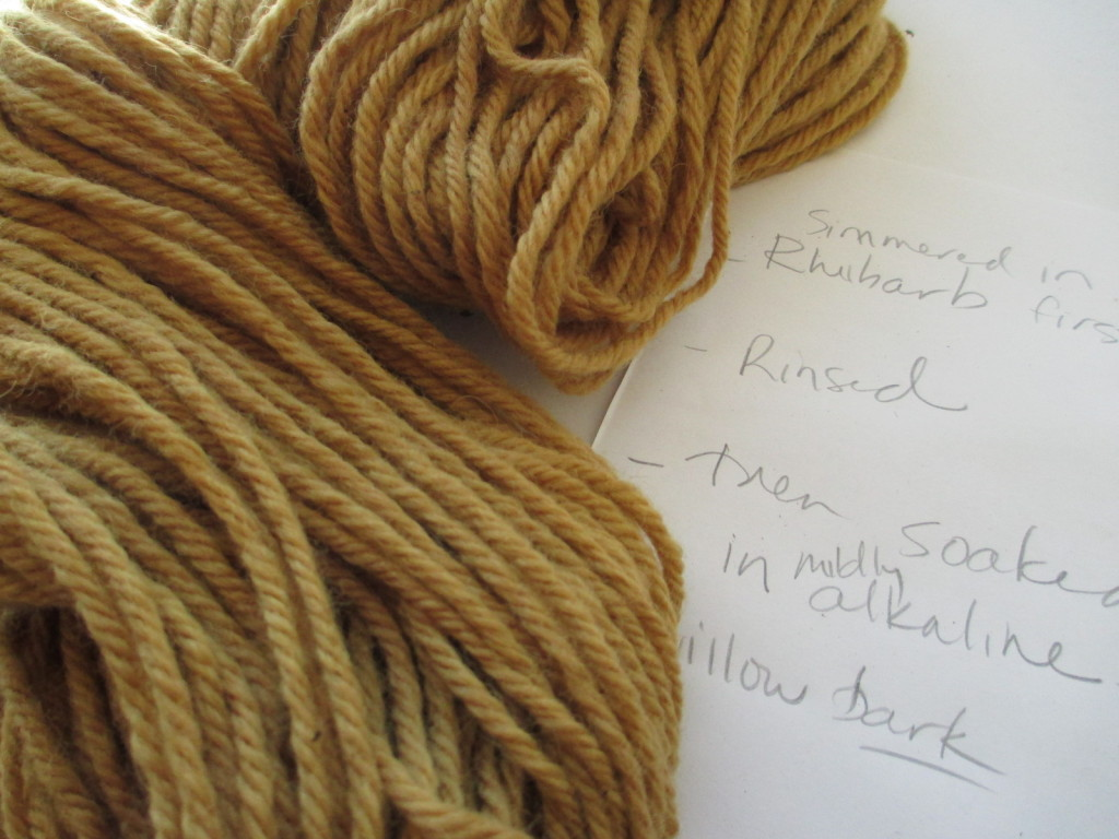 Natural dye from willow bark alkaline extraction.