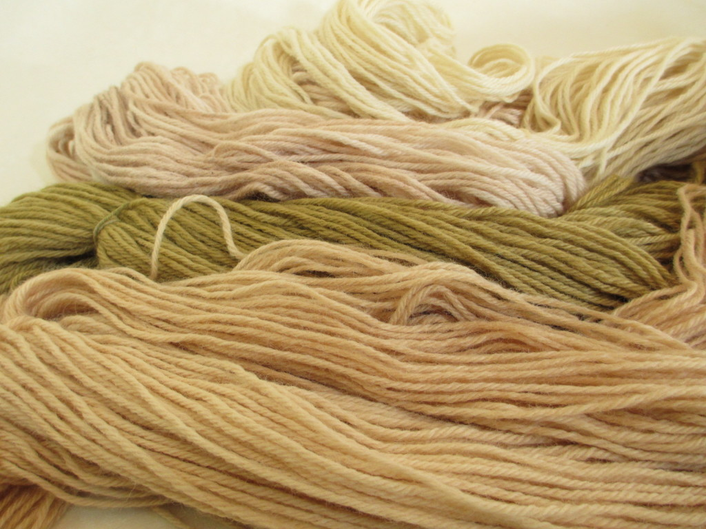 Wool yarn naturally dyed with alkaline extractions.