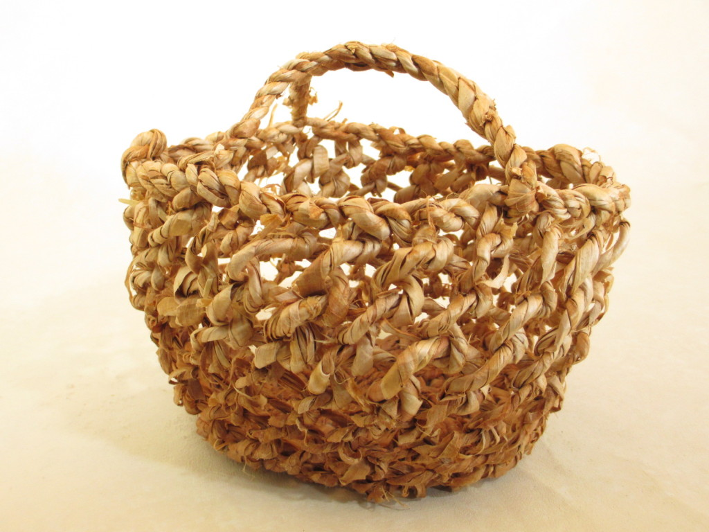 Looped white pine bark egg basket by Donna Kallner.