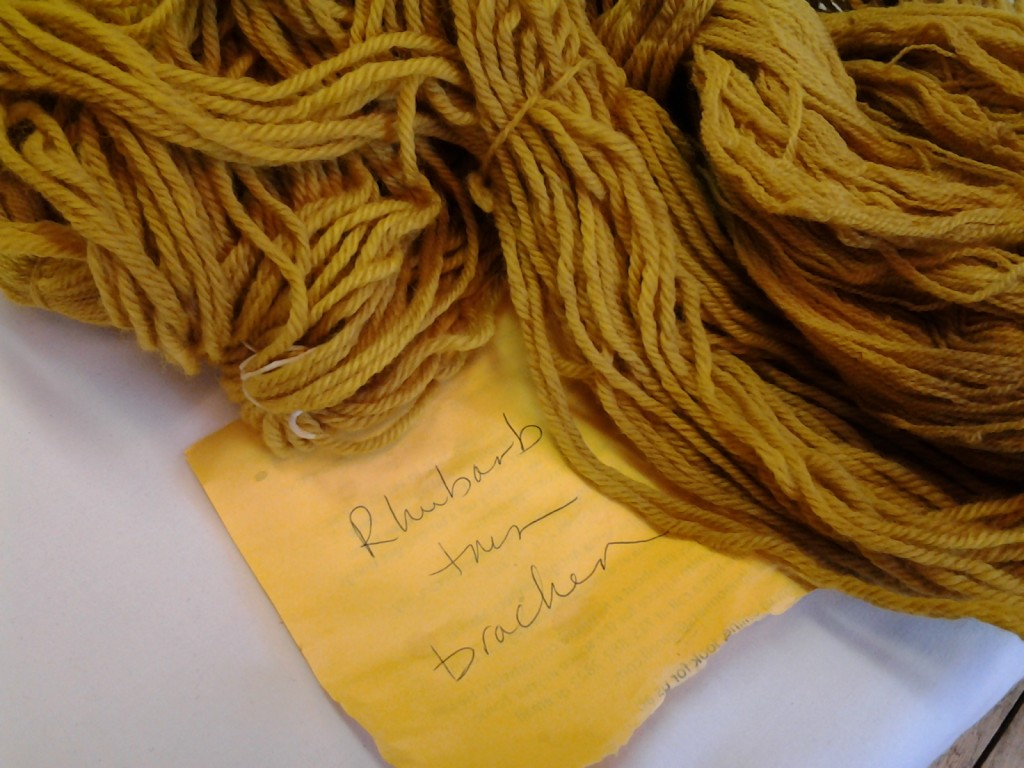 Wool yarn naturally dyed with rhubarb leaf then overdyed with bracken.
