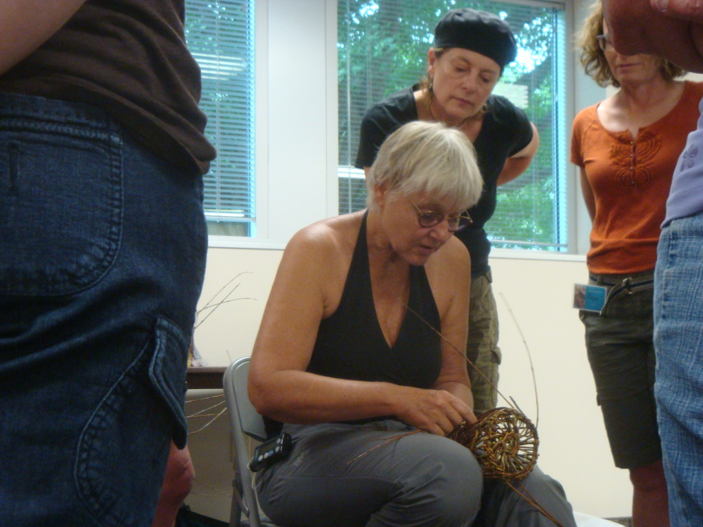 Eva Seidenfaden teaching at the Willow Gathering in Decorah, Iowa in 2014.