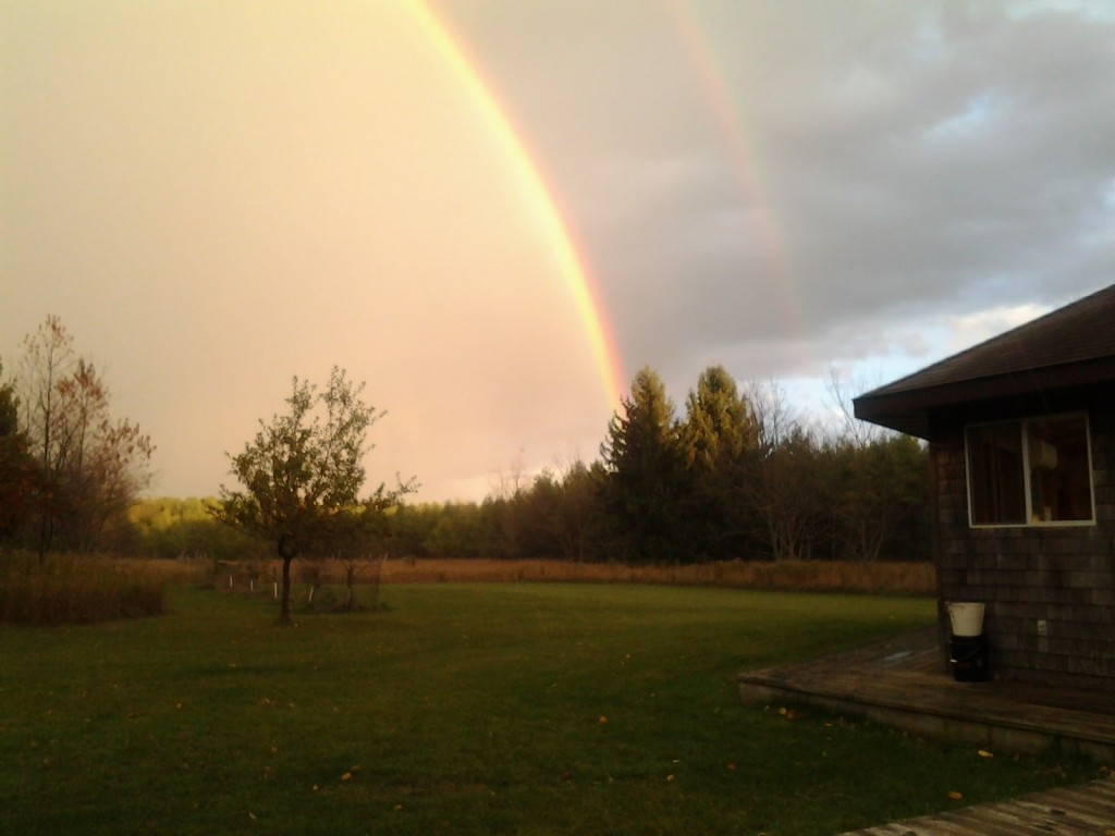 Double rainbow over the studio at Sievers School of Fiber Arts.