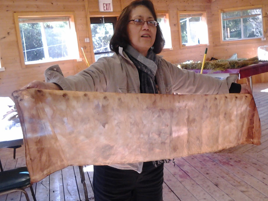 Ecoprint scarf made in the Natural Dye Retreat at Sievers School of Fiber Arts.