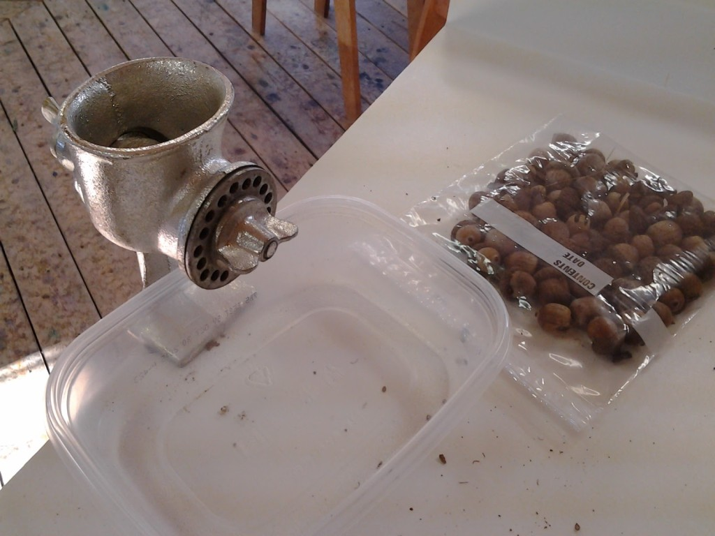 Meat grinder used for acorns and barks.