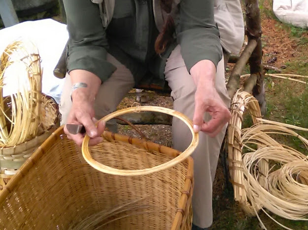 Dawn Walden's laminated basket rim made of waste materials from skeining willow.