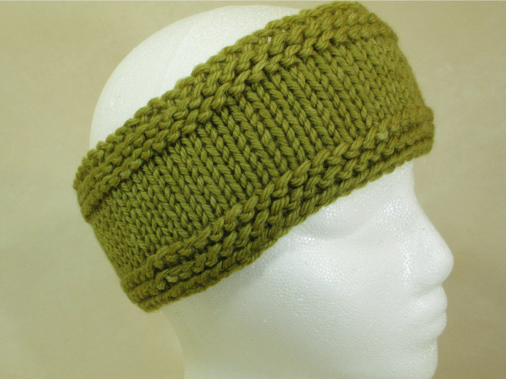 Mullein-dyed wool ski headband by Donna Kallner.