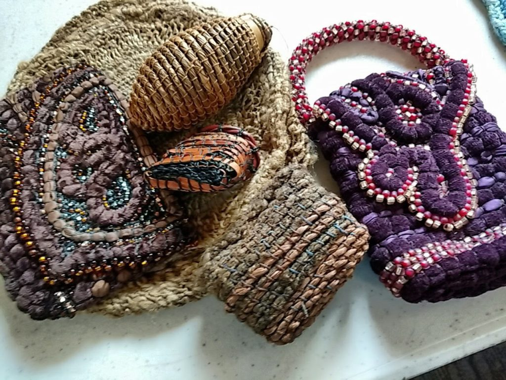 Fuegian coiling samples by Donna Kallner.